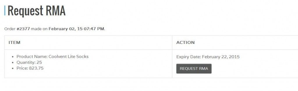 You will see an order summary as well as any active RMA requests. Click Request RMA again.